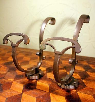 2x Art Nouveau French Brass Coat Hat Hooks Machinist Industrial Vintage Retro !!