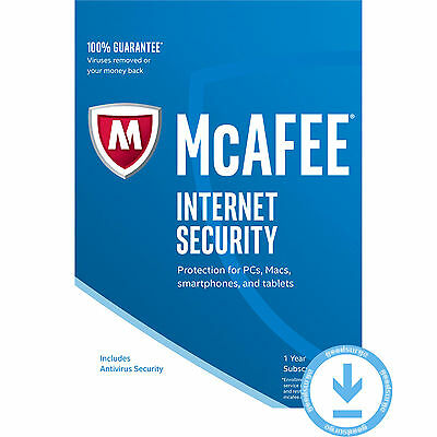 McAfee Internet Security 2017 Latest UNLIMITED Devices PC Mac etc 1 Year License