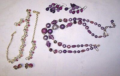 Vintage AB Aurora Borealis Necklace Lot Purple Red Earrings Crafts Repair Broken