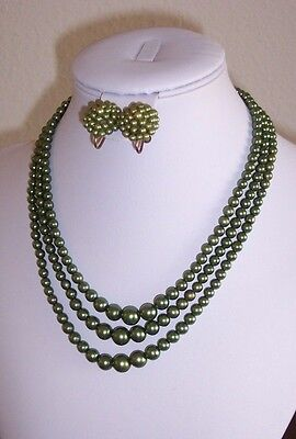 "Vintage Faux Pearl Necklace Screw Earrings Set Green Multi Strand 8"" Choker"