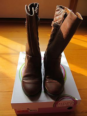 """Piper, Brown """"Alice Boots, Toddler/Girls Size 12M, Excellent Used Condition"""