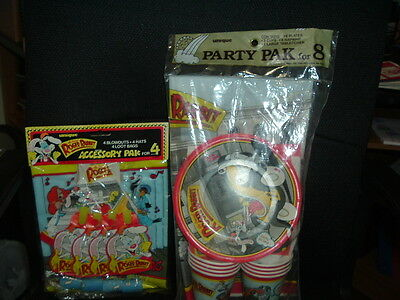 1987 Vintage New Roger Rabbit Party Plates Cups Tablecover Napkins Accesory Pak