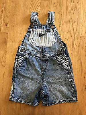 EUC OSHKOSH B'GOSH Size 24 Months Boys Denim Jeans Overalls Pants Shorts Cotton