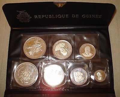 1969 Republic of Guinea 7 Coin Silver Proof Set Space Republique de Guinee