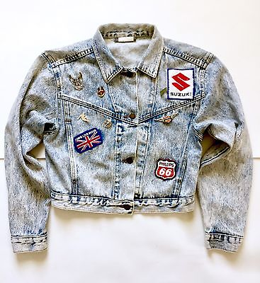 Vintage 80's Acid Wash Jean Denim Cropped Jacket w/ Vintage Pins Patches Medium