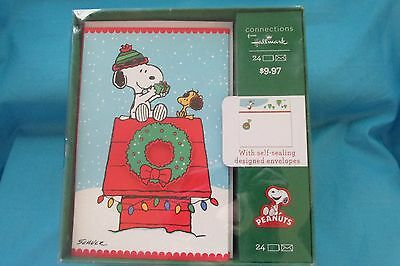 Snoopy Peanuts Mint in Box Hallmark Christmas Cards 90's w/ Envelopes Woodstock