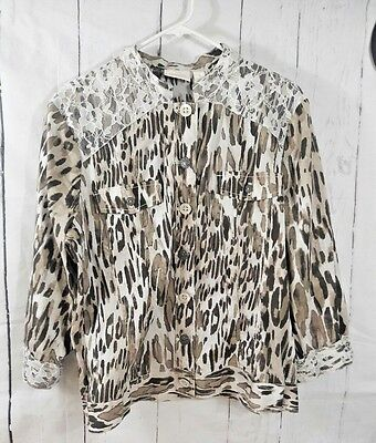 Chico's Blouse Shirt Women's Size 3 Long Sleeve Buttons Down Front Pockets