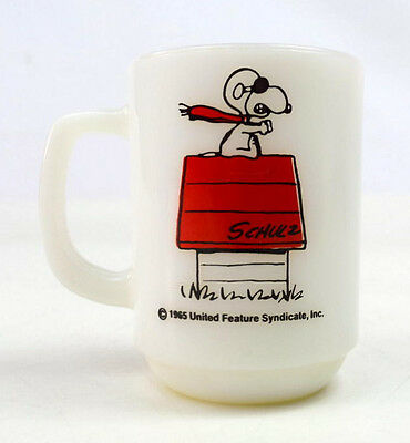 Vintage 50s Anchor Hocking Fire King Mug Snoopy Coffee Cup Curse You Red Baron