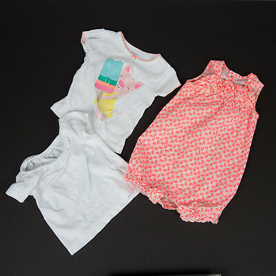 Girls Carter's Everyday Summer Outfits Sz 12 Mo Romper Floral 2 Tops