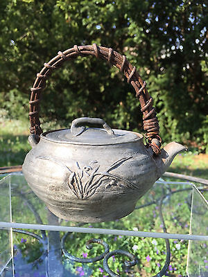Very Early Antique Asian Chinese Japanese Pewter Tea Pot w Lid  SIX Signatures!