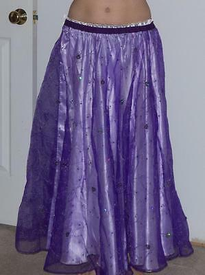 Belly Dance Costume SKIRT Purple Sheer with Sequins S/M