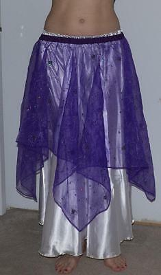 Belly Dance Costume 4-point SKIRT Purple Sheer with Sequins S/M