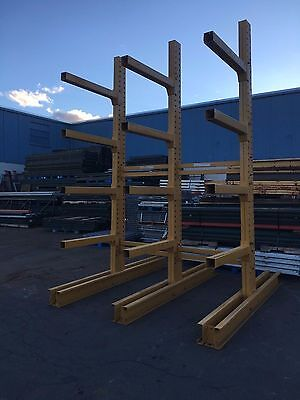 """12' Tall Jarke Cantilever Racking , 3 Tower Set 90"""" Wide Overall For 8-16' Stock"""