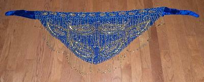 Belly Dance Costume ROYAL BLUE HIP SCARF - GOLD Sequins & Beads & Coins UNIQUE