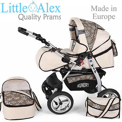 Cream 3in1 Baby Pram Stroller Pushchair Car Seat Carrycot Travel System Buggy