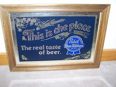 PABST BLUE RIBBON BEER Sign PBR Reverse Painted Glass Foil Mirror Wood Frame Bar