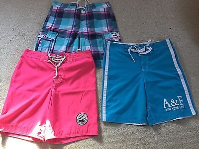 Lot Of 3 Men's Board Shorts- Abercrombie And Hollister, Large