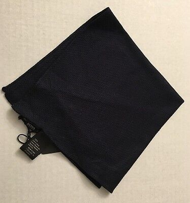 Hugo Boss Mens Navy Solid Pocket Scarf Square 100% Cotton Made In Italy NWT