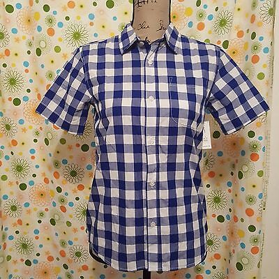 Old Navy Boys NWT Large (10-12) Button Front Shirt Short Sleeve Blue White Check