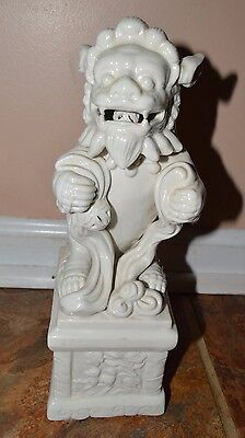 Blanc de Chine Glossy White FOO DOG Statue Ball in Mouth 11""