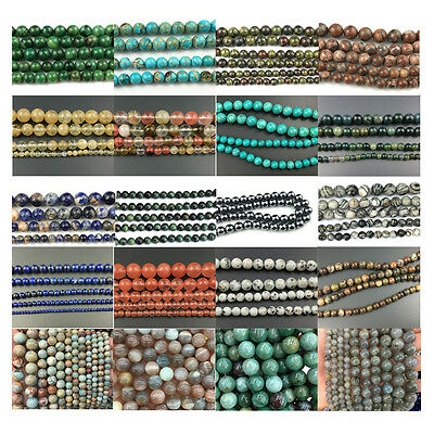 Wholesale Lots Natural Gemstone Beads Smooth Round Stone Bead 6mm 8mm 10mm 15''
