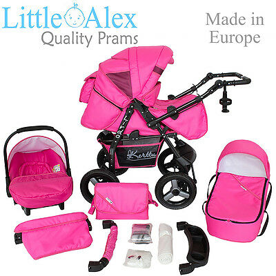 Pink 3 in 1 Baby Pram Stroller Pushchair Car Seat Carrycot Travel System Buggy