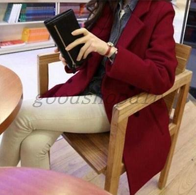 Womens Lapel Double-breasted Wool Blend Trench Coat Jacket Outwear Burgundy US S