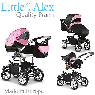 Pink & Black 3 in 1 Baby Pram Stroller Pushchair Car Seat Carrycot Travel System