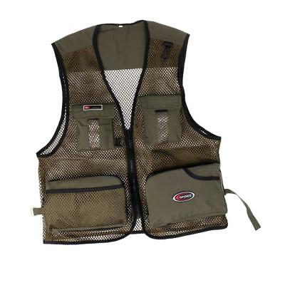 Army Green Men Quick-Dry Mesh Vest Multi-Pocket Fishing Hunting Jacket L
