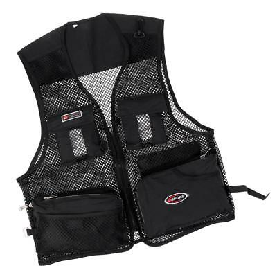 Breathable Fishing Vest Multi-Pocket Photography Hunting Waistcoat Black L