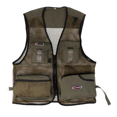 Army Green Men Quick-Dry Mesh Vest Multi-Pocket Fishing Hunting Jacket XL
