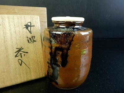 F5919: Japanese Tamba-ware Candy glaze TEA CADDY Chaire Container,auto w/box