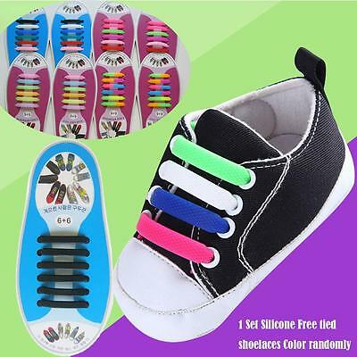 Easy No Tie Elastic Silicone Shoe Laces For Adults Kids Trainers Shoes Canvas S!