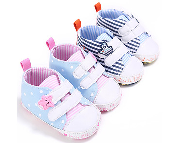 Newborn Baby Boy Girl Soft Sole Pram Shoes Toddler Trainers Size 0-6 6-12 12-18M