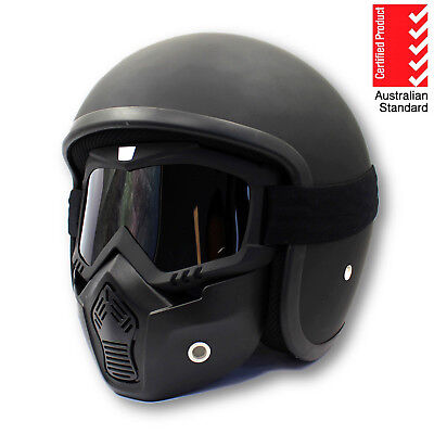 AS/NZS1698 Black Open Face Motorcycle Helmet & Mask Goggles Shield Cafe Racer