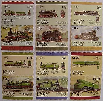 1986 BERNERA ISLANDS Set #3 TRAIN RAILWAY STAMPS Loco 100 / Leaders of the World