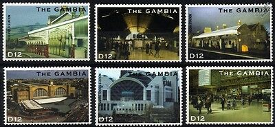 British Railway / Train Station Stamps (Steam Bicentenary / 2004 Gambia)