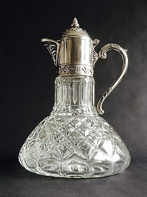 Impressive Large Vintage Ornate Italian Ships Claret Jug, Heavy Quality Glass