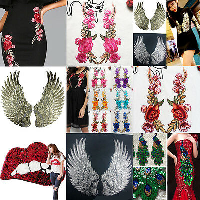 New Rose Flower Sequin Wings Peacock Embroidery Sew/Iron On Dress Applique Patch