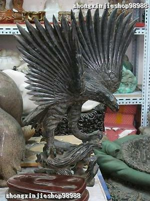 China Royal Jade Stone Carved Fly spread the wings lanneret Eagle Bird statuary