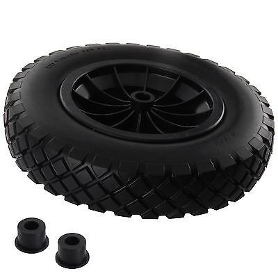 "PU 14"" BLACK Puncture Proof Solid 3.50-8 wheelbarrow wheel complete"