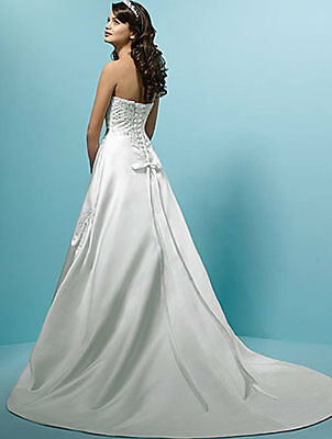 UK Clearance Sales New Long  Brida Party Evening Gown Prom Wedding Dress Size 10