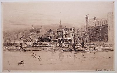 Fine 19th century etching by Richard Toovey (1861-1927). Wapping. Boats, Thames.