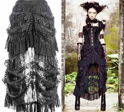 Victorian Steampunk Burlesque Gothic Black Lace Hi Lo Skirt -  Size 6 to 16.