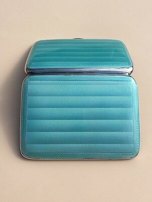 LOVELY SOLID SILVER GUILLOCHE ENAMEL CIGARETTE CASE, BIRM 1932, 88.7g /