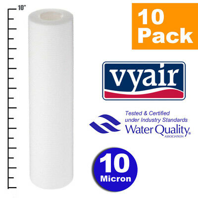 """VYAIR 10"""" PP 10 Micron Particle, Sediment, Reverse Osmosis Water Filter x 10"""