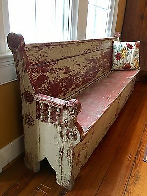 Antique Primitive Large Bench Pew Settle Seat
