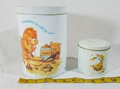 Lot of 2 Vintage Care Bears 80s Tin Funshine Add Love Cheinco Kitchen Trinket  g