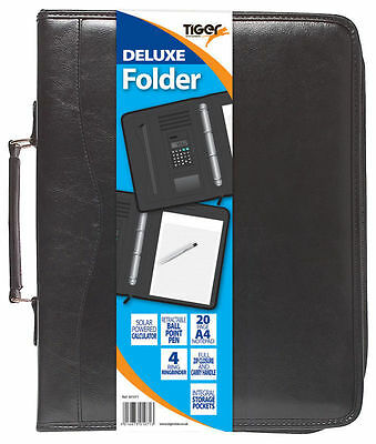 A4 Black Deluxe Executive Conference Folder Calculator Ring Binder Portfolio NEW