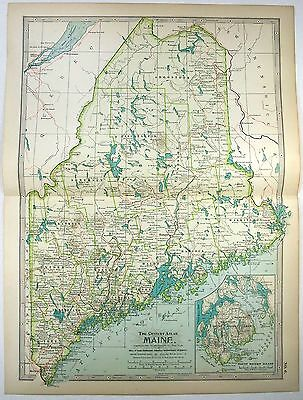 Original 1897 Map of Maine by The Century Company